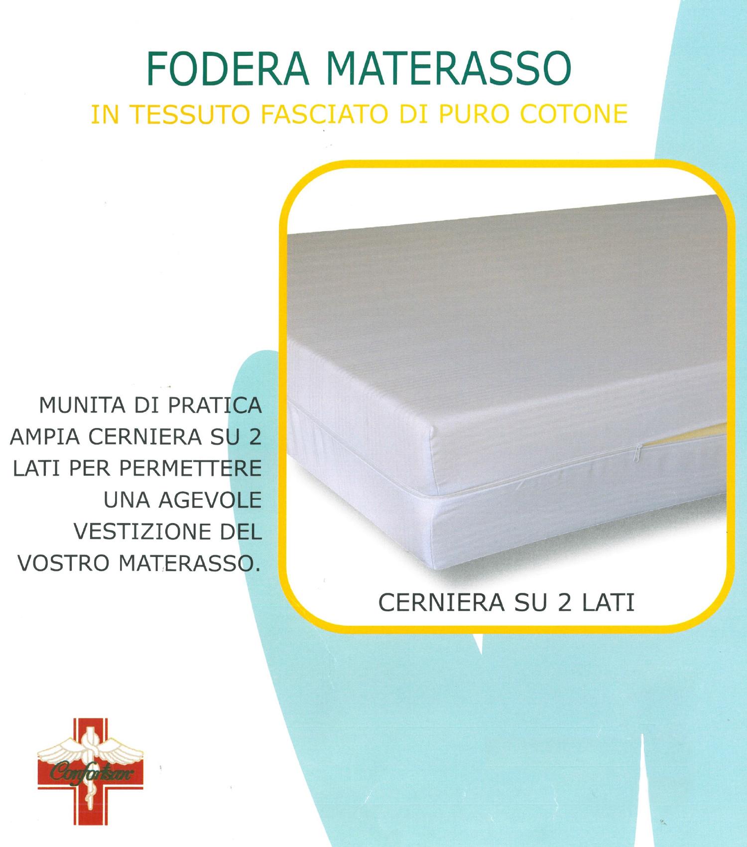 567 Euroricami Viterbo Coprimaterasso 2 Piazze Matrimoniale Cerniera Zip Sacco Puro Cotone 175 X 195 Cm