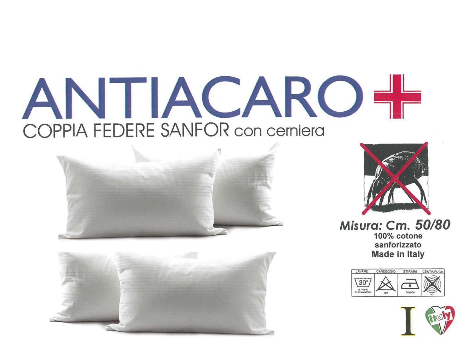 Federe E Coprimaterasso Antiacaro.2 Coppie Fodere Cuscino Guanciale Antiacaro Puro Cotone Con Cerniera 50 X 80 Cm