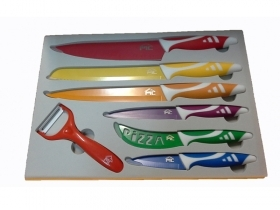 SET 6 COLTELLI ED 1 PELA PATATE RIVESTITI IN CERAMICA
