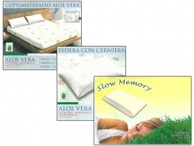 Set 3pcs Full Aloe Vera 1 Square and 1/2 Mattress cover - Pillow case - Pillow