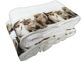 Pair hand Towel and bath towel cotton terry with prints puppies Dogs or Cats