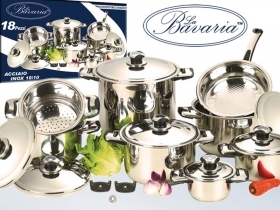 Battery Pots Bavaria 18 pieces in stainless steel 18/10