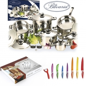 bBATTERIA POTS BAVARIA CUTLERY AND KNIVES ROYALTY LINE 50 PIECES