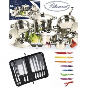 Set di Pentole Batteria Bavaria Set Barbecue e Coltelli Royalty Line 36 Pz