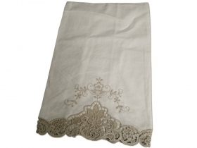 Towel in pure linen embroidery Burano Ecru
