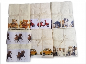 Pair Towel more guest terry cotton with prints puppies